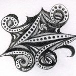 Black and white paisley doodle